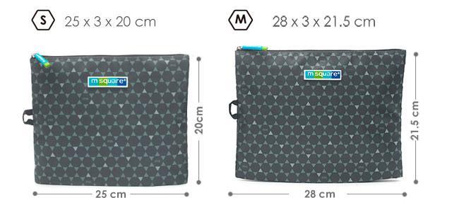 Размер набора мешочков на молнии