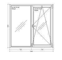 """Окно металлопластиковое  Veka WHS HALO - 60, 9-этажка """"Польская""""  1440х1440мм"""