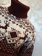 Вязаный свитер c оленями на мальчиков 158,164,170,176 роста Бегущие олени белый, фото 2