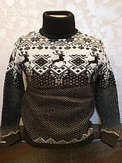Вязаный свитер c оленями на мальчиков 158,164,170,176 роста Бегущие олени белый, фото 3