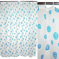 Шторка для ванної з завитками 182х182 см біло-блакитна (48802.003)