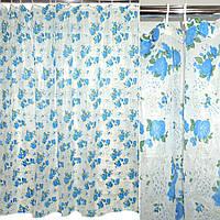 Шторка для ванної з трояндами 182х182 см біло-синя (48802.006)