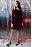 Оксамитове підліткове сукня з довгим рукавом