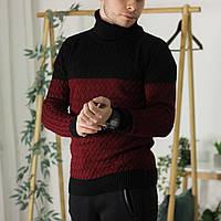 Мужской теплый свитер с подворотом черный с бордовым Турция. Живое фото. Есть другие цвета, фото 1