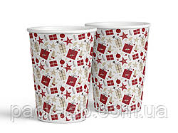 """Паперовий новорічний стакан """"Різдвяний візерунок"""" 340 мл"""