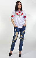 Женская вышиванка Зоряна с коротким рукавом