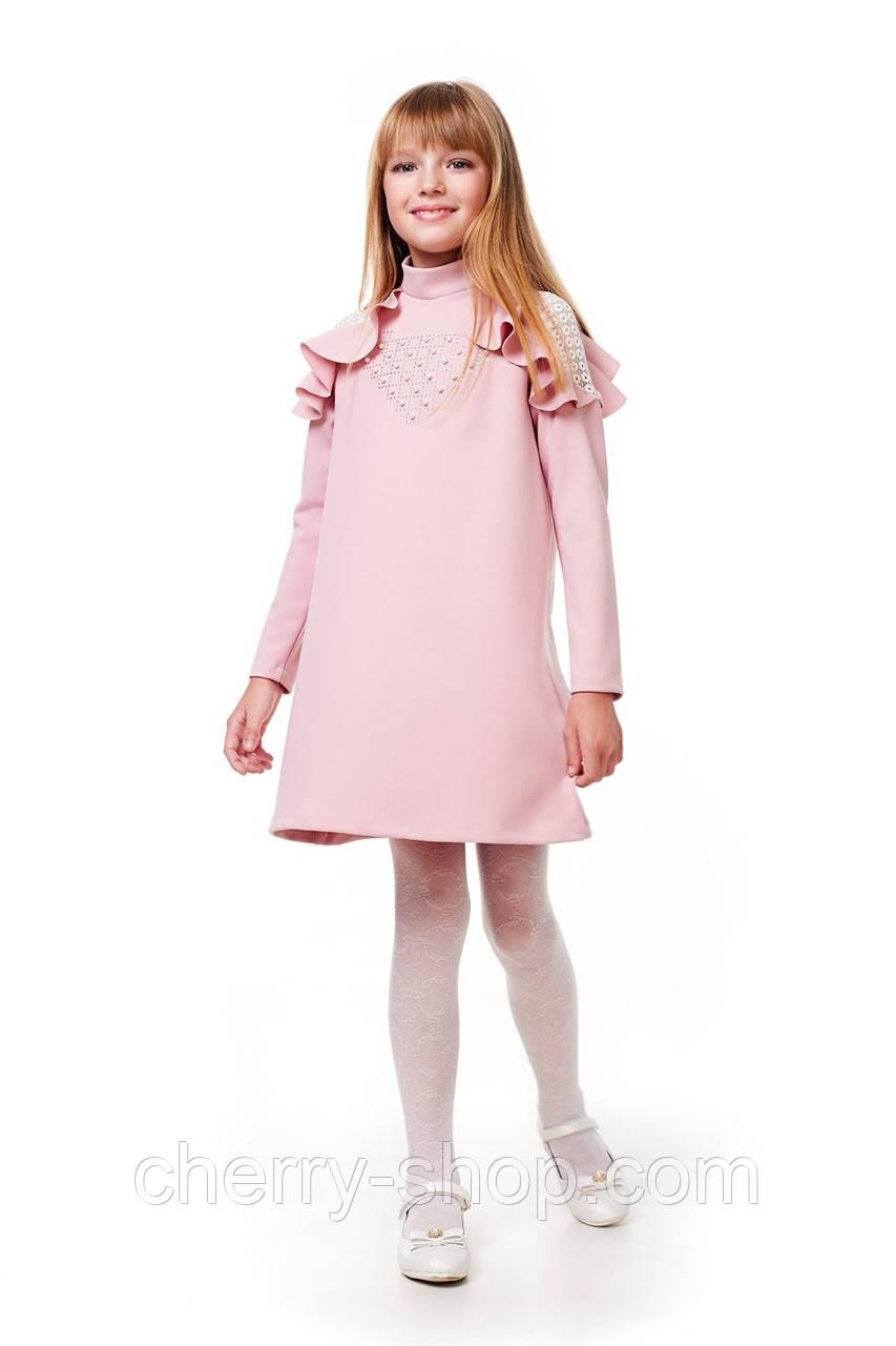 Нежно розовое платье детское  с воротником стойкой