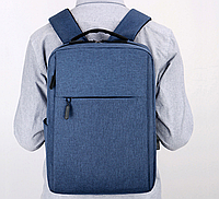 Городской рюкзак синий с USB Minimalist Style Kод 166С.