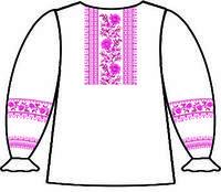 Сорочка для девочек под вышивку, белая, длинный рукав