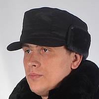 Однотонная мужская кепка для охраны или МВД, на флисе - черного цвета