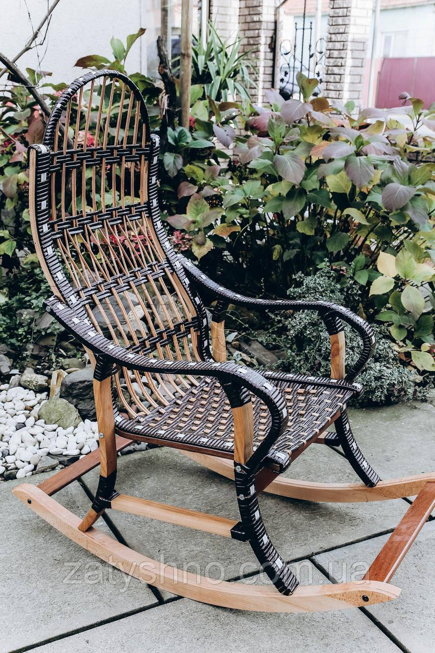 Кресло качалка плетеная с черным ротангом | кресло-качалка для отдыха садовая для дачи