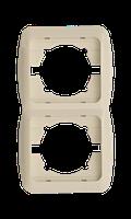 Рамка ABB El-bi Tuna двойная вертикальная крем, Турция