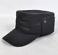 Однотонная мужская кепка для охраны или МВД, демосезонная - черного цвета