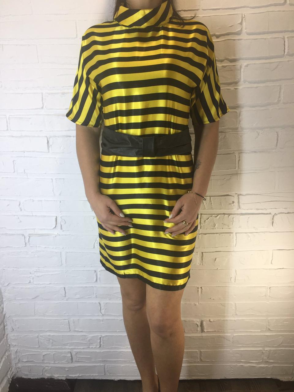 Платье атласное 024 атлас черно-желтое S