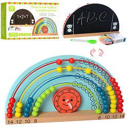 Деревянная игрушка Набор первоклассника MD 1131  досточ,мелки,счеты,часы,маркер,кор,31-17-6см