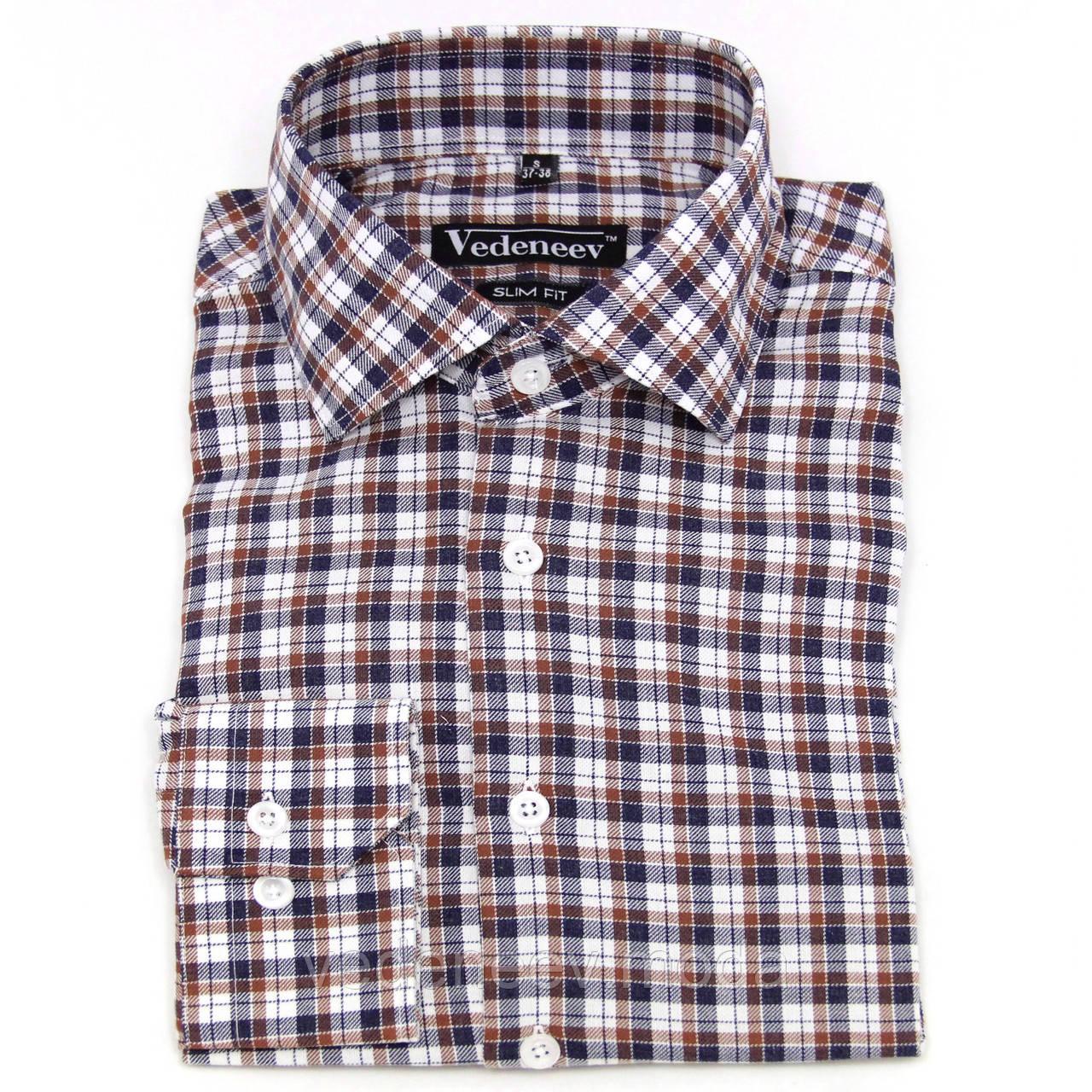 Приталенная рубашка в черно-коричневую клетку 100% хлопок
