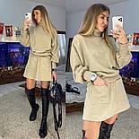 Жіночий теплий костюм: светр і спідниця-трапеція з кишенями, фото 3