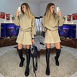 Жіночий теплий костюм: светр і спідниця-трапеція з кишенями, фото 2