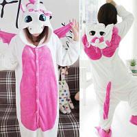 Детская пижама Кигуруми Единорог Бело-розовый с крыльями 120 (на рост 118-128см)