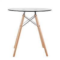 """Стол """" ИМЗ""""  стеклянный, дерево, диаметр 80 см"""