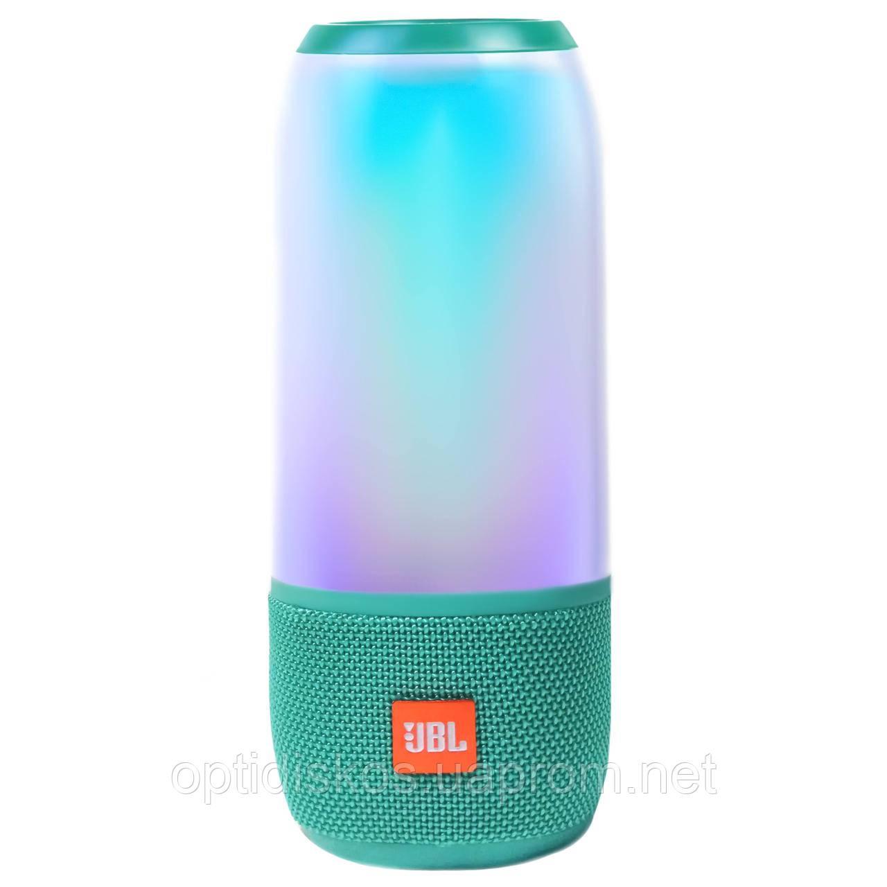 Bluetooth портативная колонка Pulse 3, с 2-динамиками, сабвуфером, светомузыкой, 23см*9см, голубая