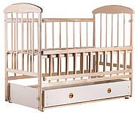 Манеж-кроватка «Наталка» маятник и ящик, откидной бок ольха светлая