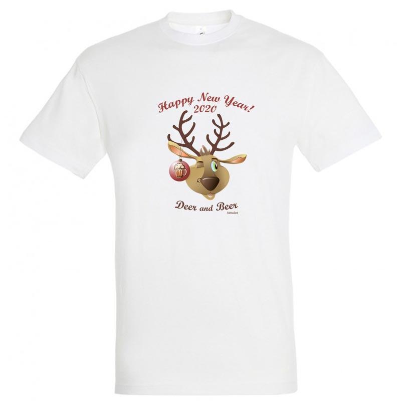 """Байкерская новогодняя футболка """"Deer and Beer"""" 2020"""