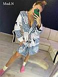 """Женский мягкий плюшевый халат с зимним принтом """"Олени"""", фото 4"""