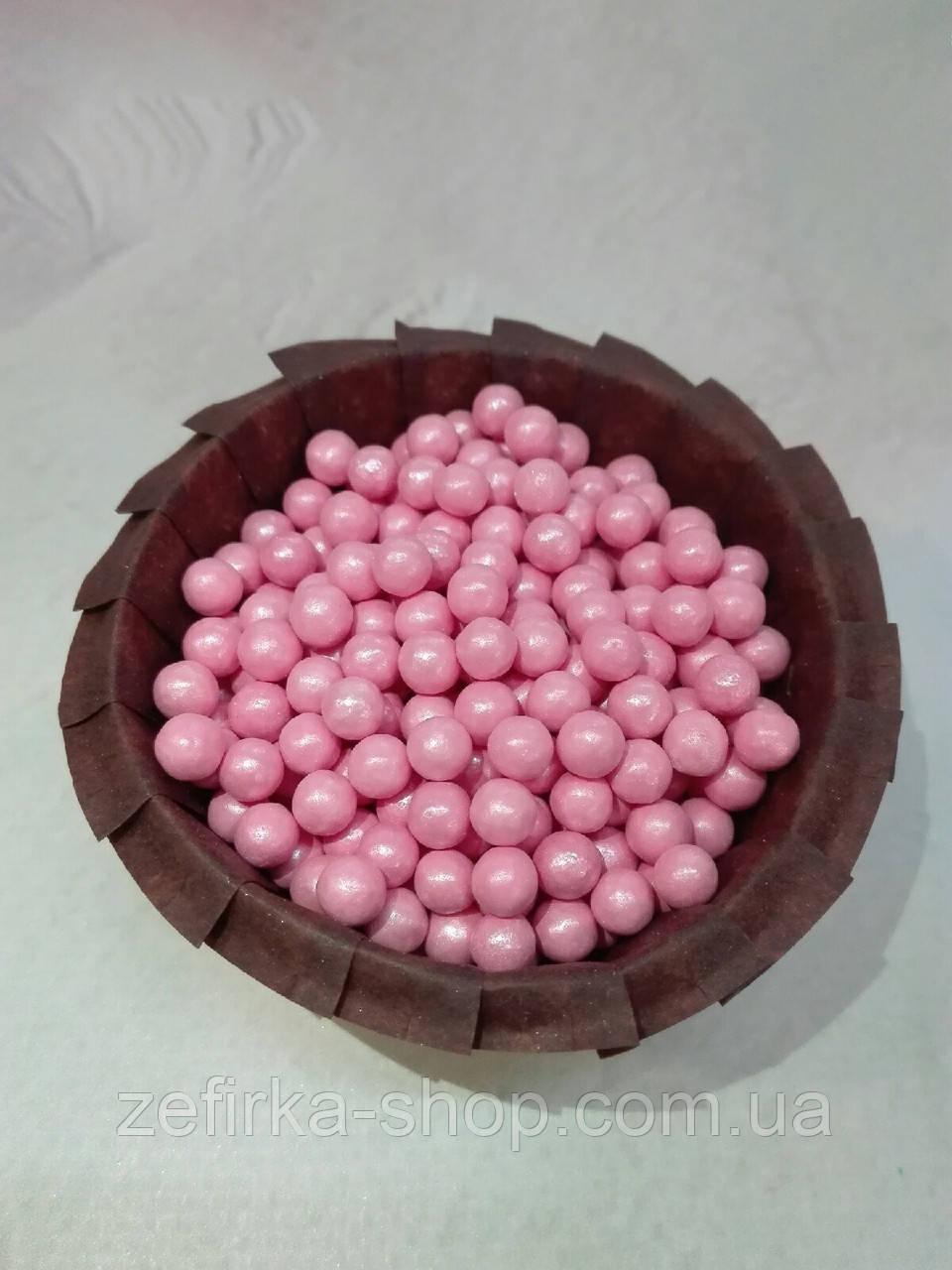Посыпка кондитерская розовый жемчуг, 7 мм