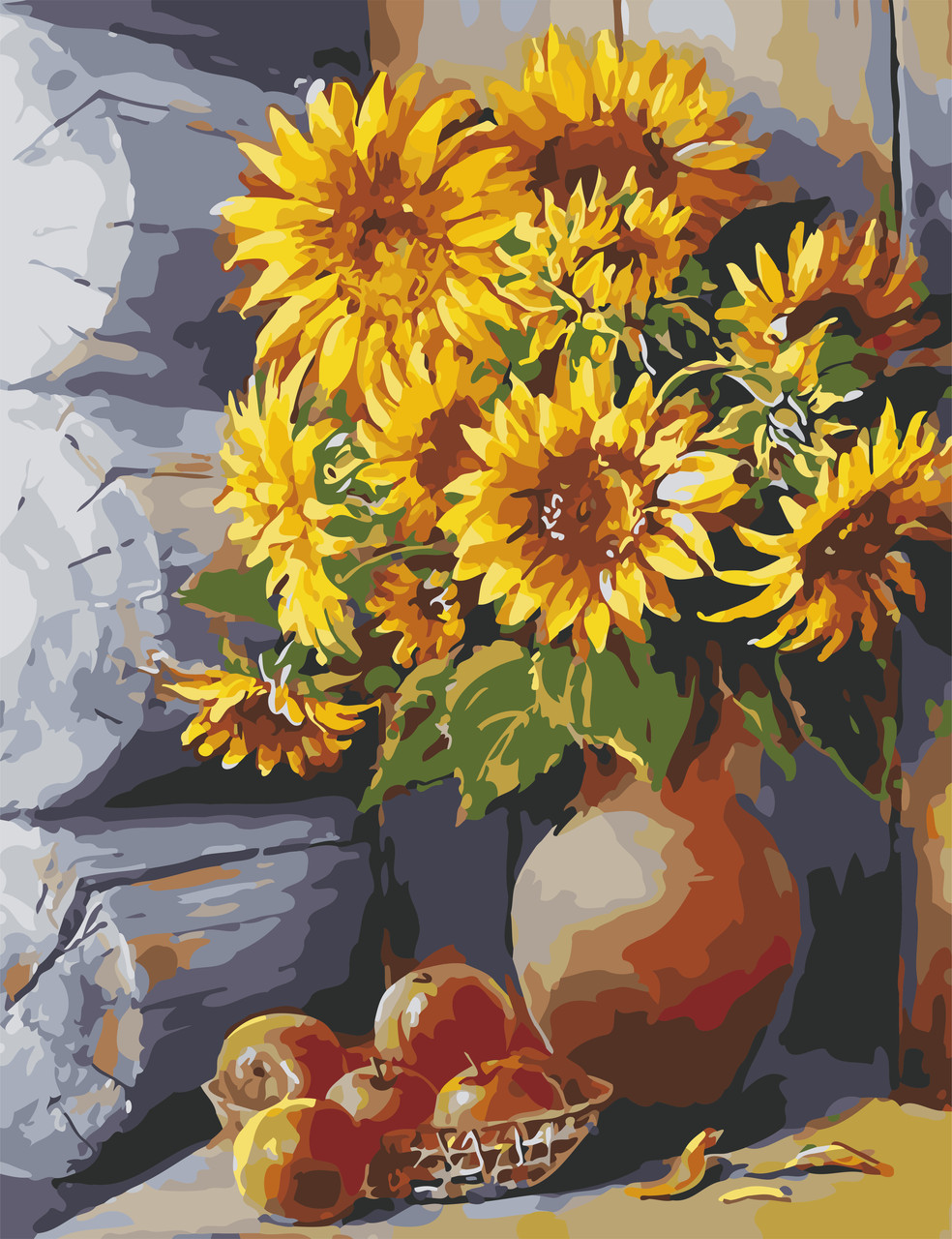 Художественный творческий набор, картина по номерам Яркие подсолнухи, 50x65 см, «Art Story» (AS0653)
