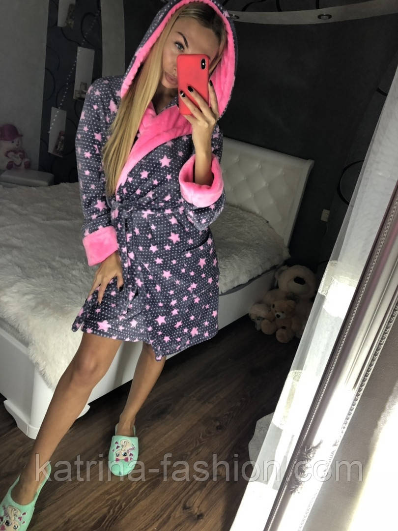 Женский мягкий плюшевый халат со звездами