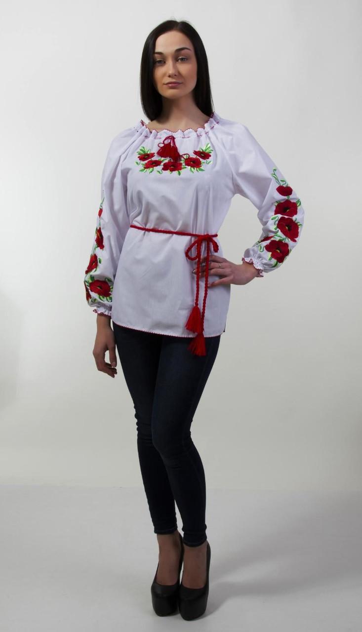 Женская вышиванка Мак на длиный рукав