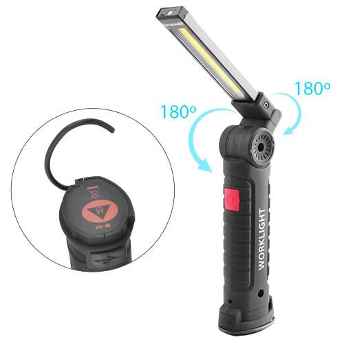 Фонарь кемпинг W-52-SMD+COB, встроенный аккумулятор, ЗУ micro USB, поворот180º+180º, магнит, зажим, крюк