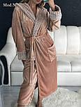 Женский мягкий длинный халат с поясом, фото 2