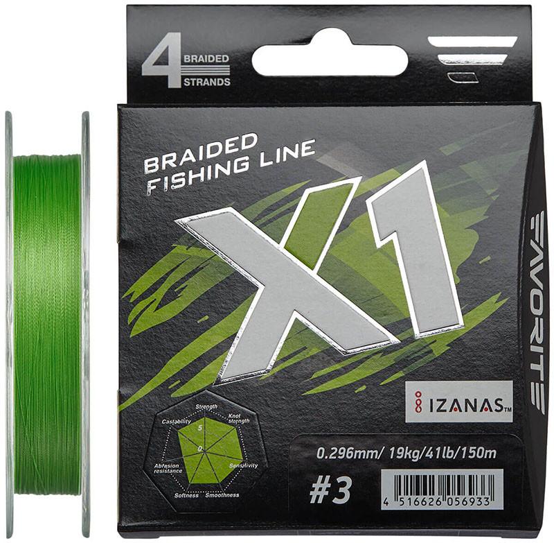 Шнур Favorite X1 PE 4x 150m #3.0/0.296 mm 41lb/19.0 kg салатовий