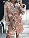 Женский мягкий плюшевый халат с капюшоном, фото 4