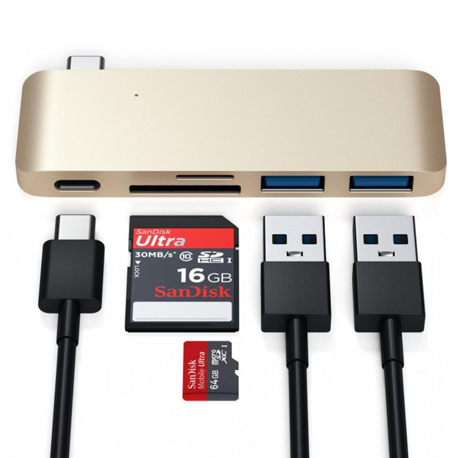 USB-хаб  Aluminum Type-C USB 3.0 SD MicroSD 5 в 1 переходник адаптер для MacBook Pro Hub Adapter Gold