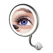 """Зеркало увеличительное 5X для макияжа с LED подсветкой на гибкой ножке с присоской диаметр 8"""" UKC ultra Flexible Mirror"""
