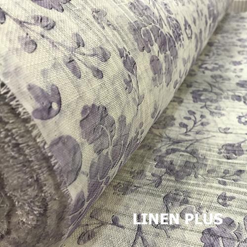 Льняная ткань с фиолетовыми цветами, 100% лен, 14с211-51-2