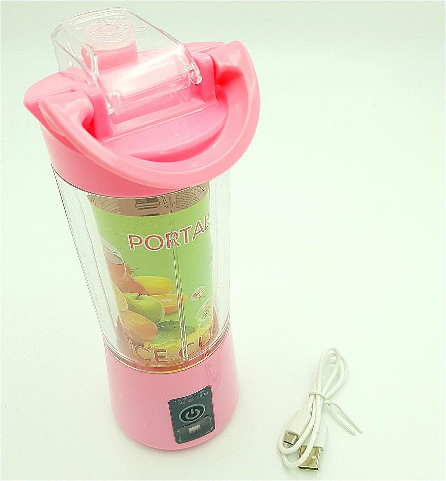Фитнес Блендер аккумуляторный портативный для смузи и коктейлей 380 мл NG-03 розовый