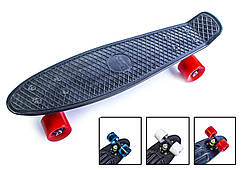 Пенни борд скейт 57 х 15 см до 80 кг ABEC-7 матовые колеса Penny Board черный