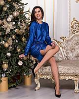 Женское платье свободного кроя акрил коттон электрик фиолетовое оранжевое 42-48, фото 1