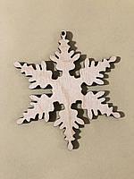 Деревянная новогодняя игрушка заготовка украшение из фанеры Снежинка 85 мм, толщина 3 мм. Новорічна прикраса