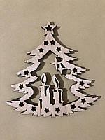 Деревянная новогодняя игрушка заготовка украшение из фанеры Ёлочка 90*85 мм, толщина 3 мм. Новорічна прикраса
