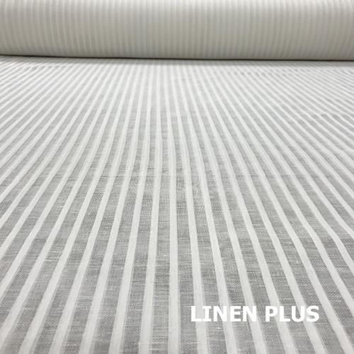 Белая льняная ткань в полоску 15с699-1-0