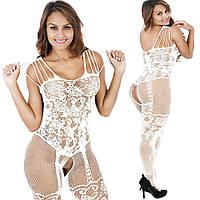 Эротичный комбинезон Dominica белый, Сексуальное эротическое женское белье