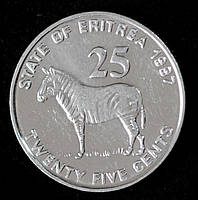 Монета Эритреи 25 центов 1997 г. Зебра