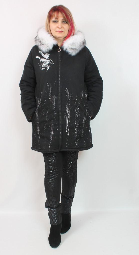 Турецкая женская джинсовая куртка с мехом, размеры 50-56