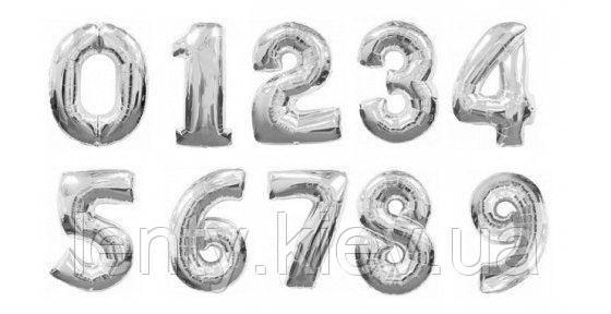 """Повітряні Цифри Фольговані, Срібло 16"""" (35 див.) - надувши повітрям"""