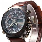 Мужские наручные часы кварцевые с Подсветкой AMST коричневые